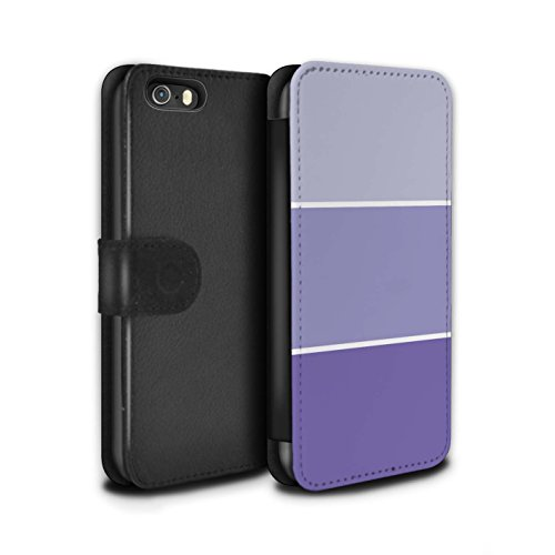Stuff4 Coque/Etui/Housse Cuir PU Case/Cover pour Apple iPhone SE / Turquoise Design / Tons de Couleur Pastel Collection Violet