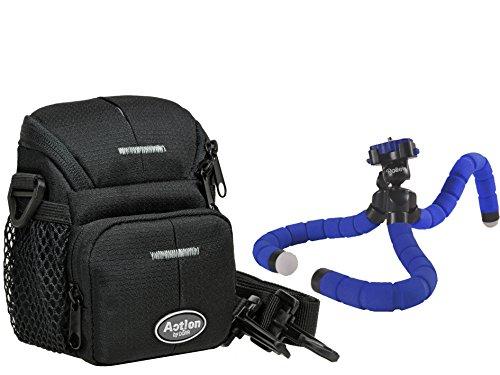 Foto Tasche ACTION S Tasche im Set mit Reise Stativ Rollei Monkey Pod blue für Sony DSC- RX100 HX50 HX60 HX80 HX90 und viele andere