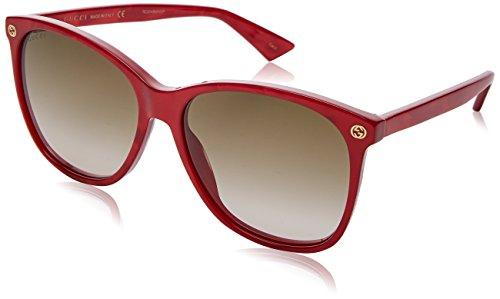 Gucci Damen GG0024S 006 Sonnenbrille, Rot (Red/Brown), 58