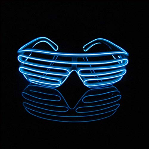 LERWAY EL Wire Leuchtbrille Leuchten LED Shutter Shade Brille Fun Konzert für Halloween,Party,Disco,Nacht Pub,Bar Klub Rave,70er 80er 90er Kostüm (Blau ()