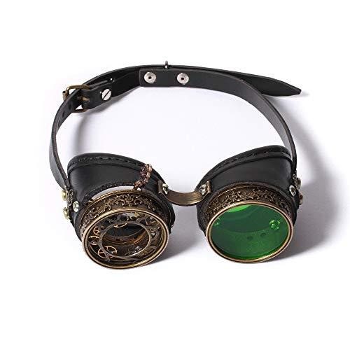 Dfghbn Retro Vintage viktorianischen Steampunk Brille Brille Schweißen Cyber   Punk Gothic Cosplay (Farbe, Größe : Free Size)