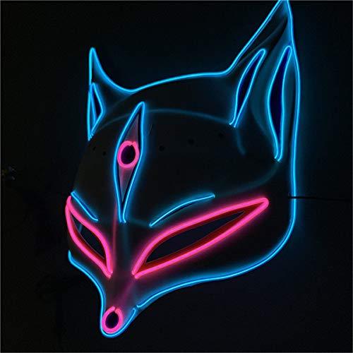 Kostüm Tanz Fox - WASAIO Halloween Glowing Mask PVC Painted LED Glowing Mask