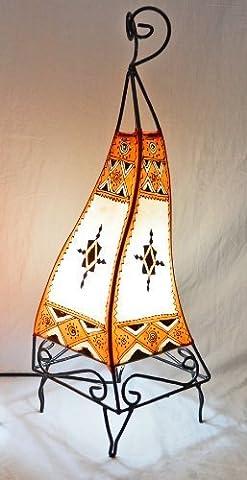 Painted Moroccan Henna Floor / Table Lamp- Square - 60CM - Orange & Cream