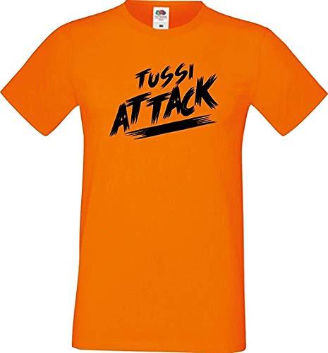 Shirtinstyle Männer T-Shirt Tussi Attack,orange, XL