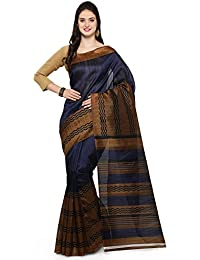 Craftsvilla Women's Bhagalpuri Silk Printed Blue Saree With Blouse Piece (Mcraf45323487990_Saree)