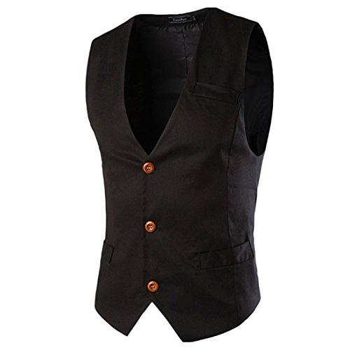 Boom Fashion Hombre Elegante Chaleco Traje Slim Fit Waistcoat Negro XL