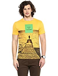 Wear Your Mind Yellow Cotton Round-Neck Printed T-shirt For Men TSS198.2