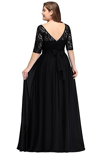 Misshow Damen Übergröße Abendkleid Spitze Chiffon mit Ärmel Elegant Lang Ballkleid , Schwarz, 52