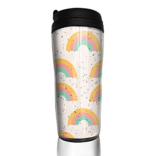 Travel Coffee Mug Rainbow Sherbet 12 Oz Spill Proof Flip Lid Water Bottle Environmental Protection Material ABS