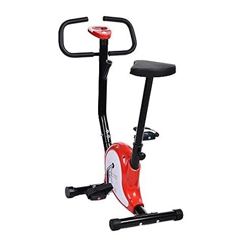 Busyall Fitnessfahrrad bis 110kg Heimtrainer Ergometer Einstellbarer Sitz mit Pulsmesser