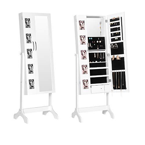 Woltu mb0018ws portagioie armadietto con due porte porta gioielli portafoto con specchio armadio organizer trucco bianco