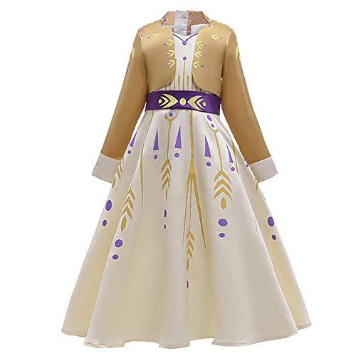 OwlFay Principessa ANA Costume Ragazze Elsa Frozen Vestito Regina del Ghiaccio per Festa Carnevale Cosplay Halloween Abito Giallo 13-14 Anni