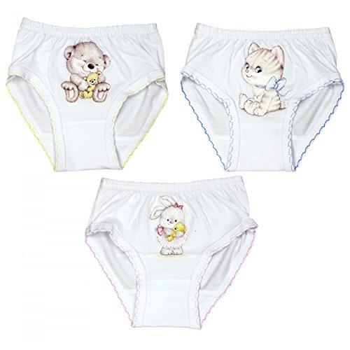 Mädchen 3-pack Slips (TupTam Mädchen Slip mit Aufdruck Baumwolle 3er Pack, Farbe: Weiß, Größe: 104)