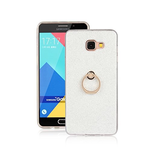 Skitic Bling Glitter Sticker Pellicola Custodia per Samsung Galaxy A7 (2016), Lusso Ultra Sottile Morbido TPU Bumper Brillare Posteriore Protettiva Case Cover con 360 Degree Rotating Metallo Ring Stand Holder - Bianca
