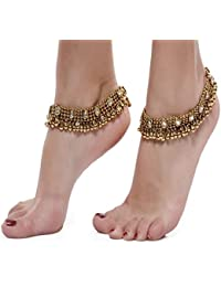 Shining Diva Gold Plated Anklets for Women (5634a)