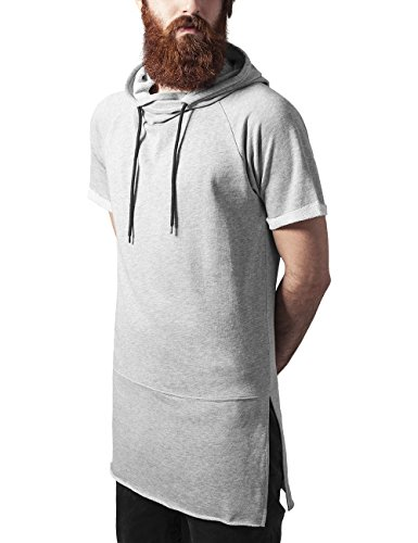 Urban Classics Herren Shortsleeve Long Raglan Hoody Sweatshirt, Grau (Grey 111), XX-Large - Raglan Hoodie Sweatshirt