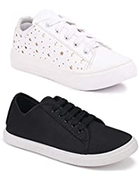Longwalk Women Latest Collection Sneakers Shoes   Casual Style   Trending Shoes for Girl's  Combo (Pack of 2)   Light Weight Breathable Walking, Gym, Yoga   Multi Colors