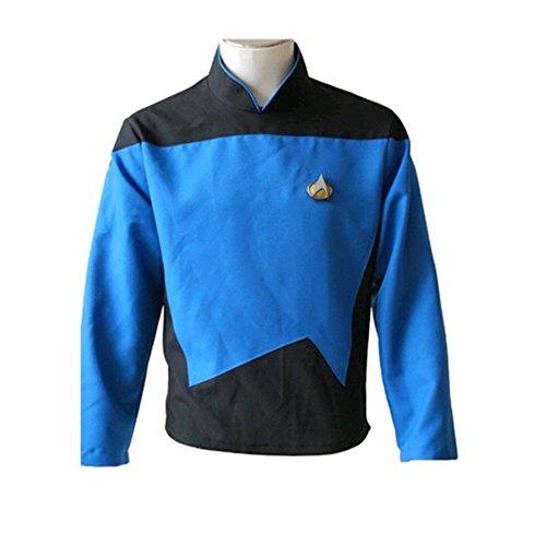 Fuman Star Trek TNG The Next Generation Teal Shirt Uniform Cosplay Kostüm Herren (Star Next Generation Kleid Trek)
