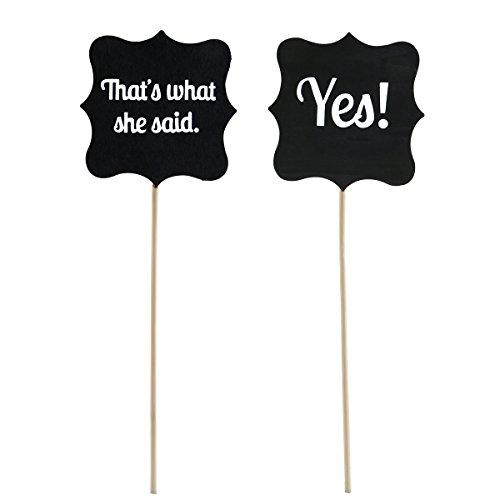 Pixnor In legno Matrimonio Segni puntelli matrimonio decorazione cartello & # xFF08; Quello che ha detto/Sì & #