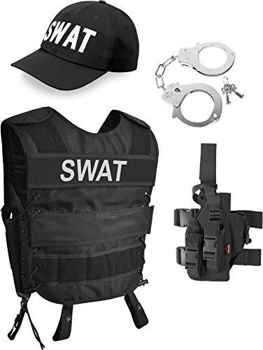 normani SWAT/Security Kostüm bestehend aus taktischer Weste mit passendem Patch, bestickter Cap, Pistolenholster und Handschellen Farbe SWAT Größe ()