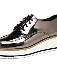 NJX/ hug Zapatos de mujer-Tacón Plano-Comfort / Punta Redonda-Oxfords-Exterior / Casual / Deporte-Materiales Personalizados-Azul / Rojo / Oro , golden-us8 / eu39 / uk6 / cn39 , golden-us8 / eu39 / uk6