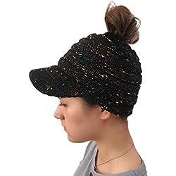 Longra Donna Cappello Casual a Maglia Caldo Cappello Invernale Colorato  Hip-Hop Berretto Knitted Cap 9bb2735fb033