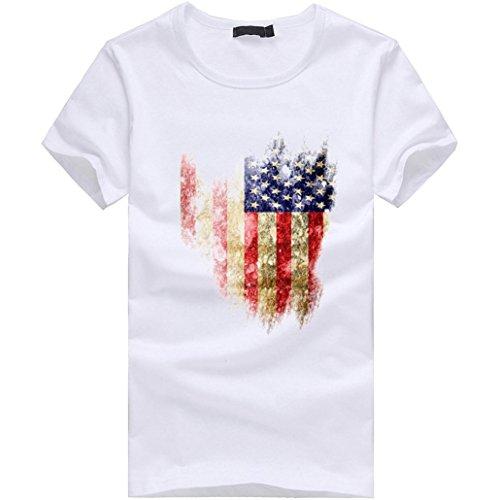 Amlaiworld Sommer-Flaggen-Druck-Kurzschluss-Hülsen-T-Shirt für Männer, fashinable und cooles T-Shirt, Weiß (XXXXL, Weiß)