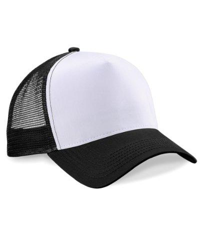 Beechfield Herren Mesh Trucker Baseballkappe, Black/ White, one size