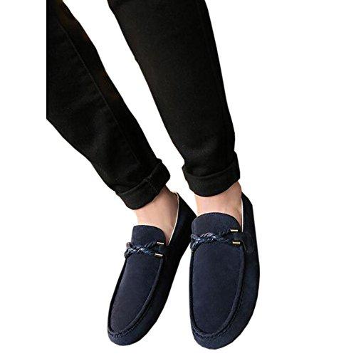 Meijunter Hommes Détente Daim Mocassins Plats Loafers a Enfiler Chaussures Slippers Bleu 3