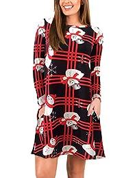 Abito di Natale Donna Elegante Corto Vintage Fashion Sciolto Ragazza Rotondo  Collo Manica Lunga Mini Vestiti 39bcc2b9748