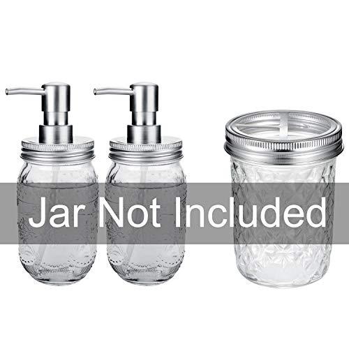 Creme, Die 16 Unzen Jar (CONNYAM Mason Jar Seifenspender Deckel & Zahnbürstenhalter Deckel Silber)