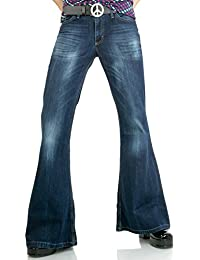 Dunkelblaue Herren Jeans Schlaghose Star Burn
