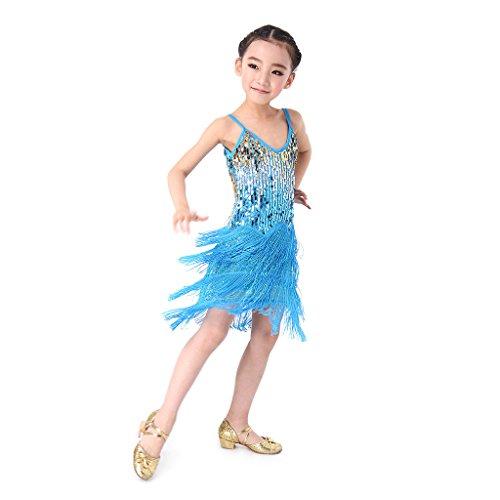 SymbolLife Mädchen Lateinamerikanischer Tänze lateinische Salsa-Tango Ballsaal Tanz Kleid Kinder Tanzkleidung Pailletten Kostüm Darbietungen Tanzkostüme für Karneval Kindertag Aufführung, S Hellblau