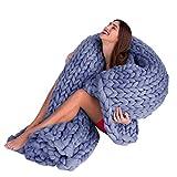 OHQ Decke Handgefertigt Riese Klobig Sticken Werfen Sofa Decke Handgewebt Sperrig Decke Zuhause Dekor Geschenk (Blau, 100 x 120 cm)