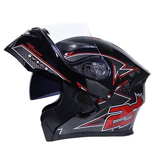 Uomo Donna Flip Up Casco Moto Modulare Anteriore Casco Moto Aperto Visiera Doppia Lente Protezione Antinebbia Da Corsa Int