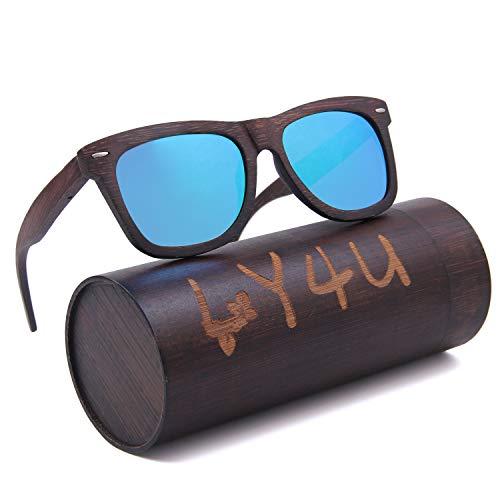 LY4U Mens und Womens Polarisierte Full Charcoal Bamboo Rahmen Classic Holz beschichtete Sonnenbrille, Vintage Brillen, Schwimmende Sonnenbrille mit Bamboo Box (Blau Neu)