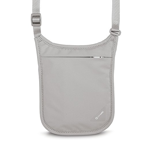 PacSafe Coversafe V75 RFID blocking neck pouch Reisepasshülle, 18 cm, Grau (Grey - Hals Rfid-reise-geldbörse