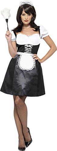 Smiffy's 45504L - Damen Französische Magd Kostüm, Kleid, Unterrock, Schürze, Haarband und Staubwedel, Größe: 44-46, (Kostüm Französisch Halloween Maid)