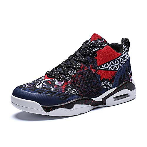 YUL Unisex-Basketball-Schuhe rutschfeste Schlagfestigkeit Sketchers PU Spring Fall Comfort Athletic Schuhe,Blue,42