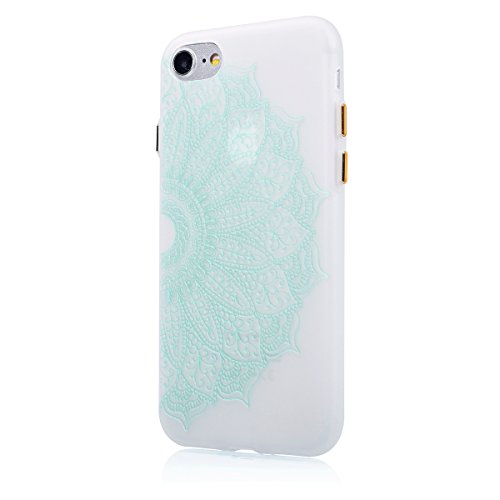 SainCat Coque Housse pour Apple iPhone 7,Transparent Brillante Coque Silicone Etui Housse Brillante,iPhone 7 Silicone Case Soft Gel Cover Anti-Scratch Transparent Case TPU Cover,Fonction Support Prote Noctilucent-Demi-fleur