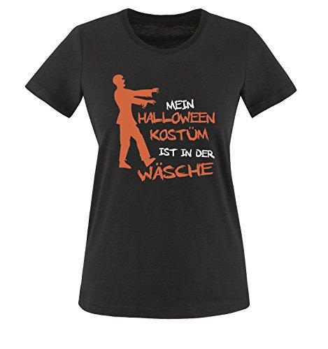 Comedy Shirts - MEIN HALLOWEEN KOSTÜM IST IN DER WÄSCHE ZOMBIE - Damen T-Shirt Schwarz / Weiss-Orange Gr. (Kostüme Für Halloween Bffs)