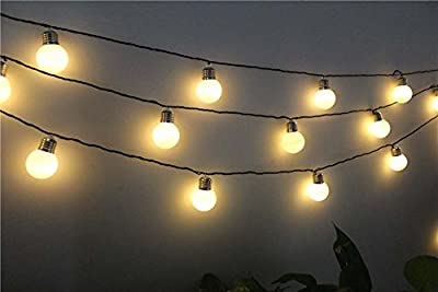 Bulb Outdoor Lights, EONHUAYU 4M 10 LED G50 LED Solar Bulbs String Lights Waterproof with 2 Modes Lighting for Outdoor, Garden, Christmas Decorations Warm White Lights