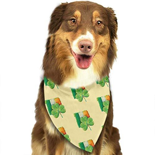 Wfispiy St. Patrick's Day Irish Shamrock Muster weicher Baumwolle Klassische Tiere Bandana Haustier Hund Katze Dreieck ()