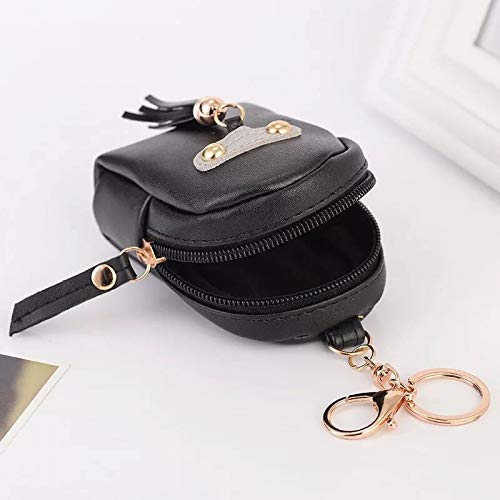 UDBOK Schlüsselbund Mode Einfache kleine Rucksack Schlüsselanhänger Anhänger PU-Leder Brieftasche Auto Schlüsselbund personalisierte Charme Tasche hängen Charme Geschenke, schwarz