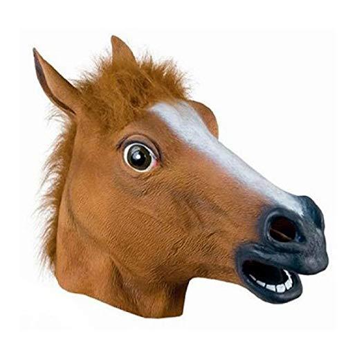Bargain Shop2018 Braune Pferdemaske Latex Halloween Tiermasken Pferdekopf Masken Kostüm für Erwachsene und (Braunes Pferd Kind Kostüm)
