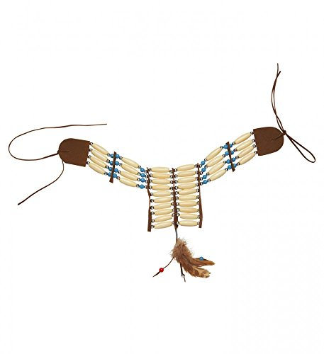 shoperama Indianer Halsschmuck mit Perlen und Federn Kette Halskette Squaw Damen ()