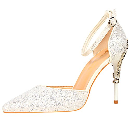 Oasap Women's Sequins Ankle Strap Pointed Toe Stiletto Heels Club Pumps White