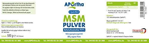 APOrtha OptiMSM | MSM Pulver | Vegan | 500g | ohne Zusatzstoffe