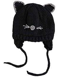 Eveliyning Niño bebé niñas Primavera otoño Invierno Grueso algodón Orejas  Dibujos Tejer Gorro Lana 8cefe43056a