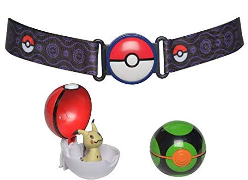 Pokémon 35931 Clip 'N Go Gürtel mit FINSTERBALL, POKÉBALL & MIMIGMA, Original Spielset mit Pokemongürtel, 2 Pokébällen und Pokemonfigur ca. 5 cm, Pokemon Set für Pokemontrainer ab 4 Jahre, Trainer (Pokemon Pokeball Mit Pokemon)